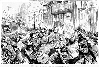 0088365 © Granger - Historical Picture ArchiveENGLAND: ELECTION NEWS.   'Fleet-Street in Election Time; the Rush for Newspapers.' Line engraving from an English newspaper of 1885.