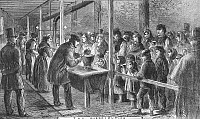 0088989 © Granger - Historical Picture ArchiveENGLAND: SOUP KITCHEN, 1862.  The Society of Friends soup kitchen in Manchester during the cotton famine following the Union blockade of Confederate ports during the American Civil War. Wood engraving, English, 1862.