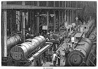 0089399 © Granger - Historical Picture ArchiveLOCOMOTIVE FACTORY, 1864.   The fitting room of Stephenson's Locomotive Manufactory at Newcastle-on-Tyne, England.  Wood engraving, English, 1864.