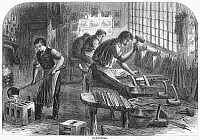 0089400 © Granger - Historical Picture ArchiveSHEFFIELD: FACTORY, 1866.   File cutting at a steel factory in Sheffield, England. Wood engraving, English, 1866.
