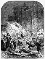 0094501 © Granger - Historical Picture ArchiveLAMBETH PALACE, 1640.   A mob of apprentices attacks Lambeth Palace, residence of Archbishop of Canterbury William Laud at London, England, 1640. Wood engraving, English, c1860.