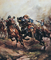 0094504 © Granger - Historical Picture ArchiveBATTLE OF EDGEHILL, 1642.   Prince Rupert in combat at the Battle of Edgehill, 23 October 1642. Painting, c1900, by Harry Payne, (1858-1927).