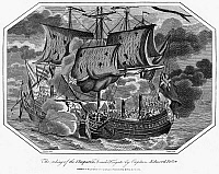 0095025 © Granger - Historical Picture ArchiveNAVAL BATTLE, 1793.   The taking of the French frigate 'Cleopatra' by a British Navy vessel under Captain Edward Pellew, 1793. Contemporary steel engraving.