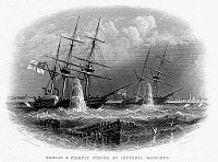0099555 © Granger - Historical Picture ArchiveCRIMEAN WAR: NAVAL ACTION.   British warships 'Merlin' and 'Firefly' struck by 'infernal machines' set up by the Russian. Wood engraving, c1854.