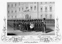 0099558 © Granger - Historical Picture ArchiveCRIMEAN WAR: SOLDIERS.   Queen Victoria taking leave of the Fusilier Guards at London, England. Line engraving, 1854.