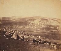 0106450 © Granger - Historical Picture ArchiveCRIMEAN WAR: BALAKLAVA, 1855. British cavalry camp near Balaklava, Crimea. Photograph by Roger Fenton, 1855.