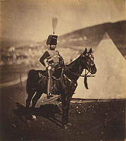 0106453 © Granger - Historical Picture ArchiveCRIMEAN WAR: HUSSAR, 1855.   Henry John Wilkin, cornet of the 11th Hussars, British Army. Photograph by Roger Fenton, 1855.