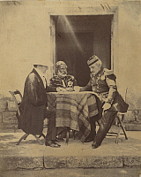 0106457 © Granger - Historical Picture ArchiveCRIMEAN WAR: COUNCIL, 1855.   Council of war held at Lord Raglan's headquarters. From left: Lord Raglan, Omar Pasha, and Marechal Pelissier. Photograph by Roger Fenton, 1855.