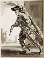 0116578 © Granger - Historical Picture ArchiveCRIES OF LONDON, 1759.   Cane Chair Weaver. Pen and watercolor by Paul Sandby, 1759.