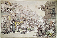 0116589 © Granger - Historical Picture ArchiveROWLANDSON: RAG FAIR, 1784.   'Rag Fair. Rosemary Lane.' Watercolor by Thomas Rowlandson, 1784.