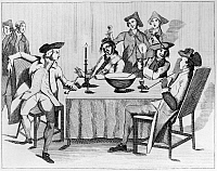 0126707 © Granger - Historical Picture ArchiveTREATY OF PARIS, 1763.   Celebrating the Treaty of Paris, February 1763, that ended the Seven Year's War, at The Thistle & Crown in London, England. Contemporary English cartoon.