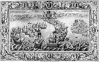 0131908 © Granger - Historical Picture ArchiveSPANISH ARMADA, 1588.   Two battles between the English Royal Navy and the Spanish Armada. Left: The Spanish galleon 'San Salvador' is set on fire and captured by the English. Right: battle off the Isle of Portsmouth. Line engraving with portraits of English commanders along the border, 1739.