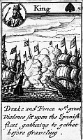 0133431 © Granger - Historical Picture ArchiveSPANISH ARMADA, 1588.   'Drake and Fenez with great Violence set upon the Spanish fleet gathering together before Graveling.' The king of spades from a deck of English playing cards depicting the defeat of the Spanish Armada, 1588.