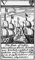 0133440 © Granger - Historical Picture ArchiveSPANISH ARMADA, 1588.   'The Fleete of Castile whereof Diego Flores de Valdes was Generall, consisted of 14 Galleons and 2 Pinnaces, having 2485 Soldiers, 1719 Mariners, 384 Canons.' The five of hearts from a deck of English playing cards depicting the defeat of the Spanish Armada, 1588.