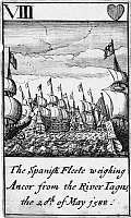 0133444 © Granger - Historical Picture ArchiveSPANISH ARMADA, 1588.   'The Spanish Fleete weighing ancor from the River Tagus, the 20th of May 1588.' The eight of hearts from a deck of English playing cards depicting the defeat of the Spanish Armada, 1588.