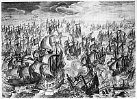 0133522 © Granger - Historical Picture ArchiveSPANISH ARMADA, 1588.   The Spanish Armada fighting against the English Royal Navy, 1588. Line engraving, c1615.