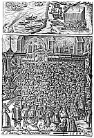 0133524 © Granger - Historical Picture ArchiveSPANISH ARMADA: DEFEAT.   Queen Elizabeth and a congretation at St. Paul's Cathedral in London, giving thanks for the defeat of the Spanish Armada, 1588. Wood engraving from 'A Thankful Remembrance of God's Mercy in an Historicall Collection of the Deliverances of the Church and State of England, from the beginning of Q. Elizabeth,' by George Carleton, 1624.