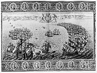 0176369 © Granger - Historical Picture ArchiveSPANISH ARMADA, 1588.   'DeValdez's Galleon springs her foremast and is taken by Sir Francis Drake. The Lord Admiral with the Bear and Mary Rose pursue the enemy who are in the form of a half moon.' The defeat of the Spanish Armada, the Fourth Day. Line engraving by John Pine from 'The Tapestry Hangings of the House of Lords,' published in 1739.