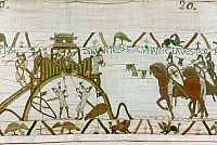 0259144 © Granger - Historical Picture ArchiveBAYEUX TAPESTRY.   Norman soldiers set fire to the castle of Dinan while Breton troops resist (left), until Duke Conan II surrenders the castle, transferring the keys from his lance to Duke William's. Detail from the Bayeux Tapestry.