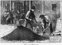 0264520 © Granger - Historical Picture ArchiveTEA WAREHOUSE, 1874.   'Bulking' tea at a tea warehouse in England. Wood engraving, English, 1874.