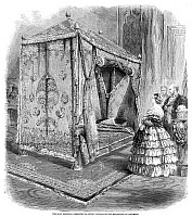 0265042 © Granger - Historical Picture ArchiveQUEEN VICTORIA (1819-1901).   Queen of England, 1837-1901. Victoria presented with a gold bedstead by the Maharaja of Cashmere. Engraving, English, 1859.