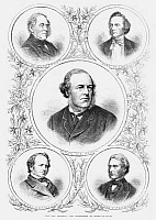 0266135 © Granger - Historical Picture ArchiveSECRETARIES OF STATE, 1869.   The Secretaries of State under the prime ministry of William Gladstone. Top: George Villiers, Earl of Clarendon; George Campbell, Duke of Argyll. Center: Henry Bruce. Botton: Earl Granville; Edward Cardwell. Wood engraving, English, 1869.