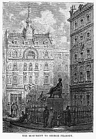 0266970 © Granger - Historical Picture ArchiveLONDON: STATUE, 1872.   Statue of American financier, George Peabody, near the Royal Exchange in London. Wood engraving after Gustave Doré from 'London: A Pilgrimage,' 1872.