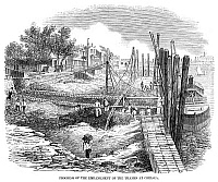 0267307 © Granger - Historical Picture ArchiveTHAMES EMBANKMENT, 1857.   Construction of the Thames River embankment at Chelsea, London, England. Wood engraving, English, 1857.