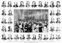 0353307 © Granger - Historical Picture ArchiveLONDON: JUBILEE, 1885.   'The Municipal Corporations Jubilee in London, To Celebrate the Fiftieth Anniversary of the Passing of the Municipal Corporations Act, 1835.' Engraving with the dance floor and portraits of the British mayors in attendance, 1885.