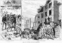 0353507 © Granger - Historical Picture ArchiveCHIMNEY COLLAPSE, 1883.   The collapse of a factory chimney in Bradford, England, which resulted in the death of about 60 people in January 1883.