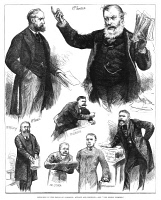0354566 © Granger - Historical Picture ArchiveENGLAND: PARLIAMENT, 1883.   William Forster attacking Charles Stewart Parnell for his incompetence in Ireland, with other members of the House of Commons chiming in. Engraving, English, 1883.
