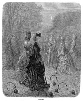 0355167 © Granger - Historical Picture ArchiveDORÉ: LONDON, 1873.   'Croquet.' Wood engraving after Gustave Doré from 'London: A Pilgrimage,' 1873.