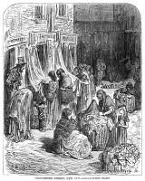 0370097 © Granger - Historical Picture ArchiveDORÉ: LONDON, 1872.  'Gloucester Street, New Cut - Old-Clothes Mart.' Wood engraving after Gustave Doré, from the series 'London: A Pilgrimage,' 1872.