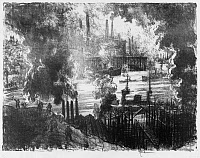 0622177 © Granger - Historical Picture ArchivePENNELL: MUNITIONS RIVER, 1916. 'Munitions River.' A river in England teems with ships as smokestacks and workers crowd its banks. Etching by Joseph Pennell, 1916.