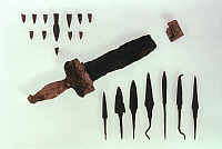 0019185 © Granger - Historical Picture ArchiveGREEK WEAPONS.   Early 5th century B.C. Arrowheads, spearheads, and dagger found at Marathon. RESTRICTED OUTSIDE US.