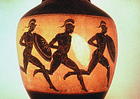 0045705 © Granger - Historical Picture ArchiveGREEK ATHLETES/VASE.  Armored foot-racers. Attic black-figured vase. 6th century B.C.