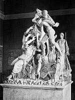 0095158 © Granger - Historical Picture ArchiveFARNESE BULL.   The Farnese Bull, depicting the myth of Dirce. Marble, 2nd century B.C., by the Greek sculptors Apollonius of Tralles and Tauriscus.