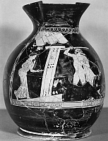 0118432 © Granger - Historical Picture ArchiveGREEK JUG: REVELER.   Red-figured terracotta oinochoe chous (jug) depicting a reveler returning home from a festival. Attic, late 5th century B.C.