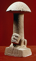 0167839 © Granger - Historical Picture ArchiveGUATEMALA: MAYAN SCULPTURE.   Mayan stone sculpture in the shape of a mushroom with an animal on the bottom, from Kaminaljuyu, Guatemala, 2000 B.C. - 1 A.D.