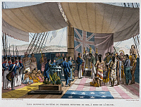 0105726 © Granger - Historical Picture ArchiveHAWAII: BAPTISM, 1819.   Baptism of Chief Kalinomoku, prime minister under King Kamehameha I of Hawaii, aboard the French ship 'L'Uranie,' flagship of the expedition under Louis de Freycinet. Engraving, French, 19th century.