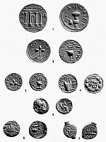 0078639 © Granger - Historical Picture ArchiveCOINS OF BIBLICAL TIMES.   1. Shekel of Bar-Kokhba, 133 A.D. 2. Shekel of the 1st revolt, 66-70 A.D. 3. Half-shekel of the 1st Revolt, 66-70 A.D. 4. Denarius of the 2nd Revolt, 133 A.D. 5. Earliest Hebrew coin struck in Judah, 4th century B.C. 6. Dilepton, year two of the 1st Revolt, 67-68 A.D. 7. Dilepton of Matthathias Antigonus, 40-37 B.C.