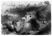 0123001 © Granger - Historical Picture ArchivePOOL OF SILOAM.   Rock-cut pool outside Jerusalem's Old City. Line engraving from W.H. Bartlett's 'Walks About the City and Environs of Jerusalem,' c1843.