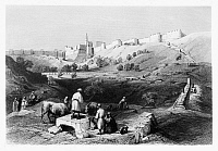0123002 © Granger - Historical Picture ArchiveSPRING OF GIHON.   The Spring of Gihon outside the city of Jerusalem. Line engraving from W.H. Bartlett's 'Walks About the City and Environs of Jerusalem,' c1843.
