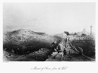 0123011 © Granger - Historical Picture ArchiveMOUNT OF OLIVES.   The Mount of Olives and city of Jerusalem. Line engraving from W.H. Bartlett's 'Walks About the City and Environs of Jerusalem,' c1843.