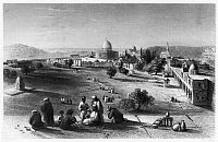 0123012 © Granger - Historical Picture ArchiveDOME OF THE ROCK, c1843.   The Dome of the Rock on the Temple Mount in the Old City of Jerusalem. Line engraving from W.H. Bartlett's 'Walks About the City and Environs of Jerusalem,' c1843.