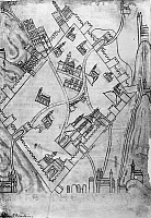 0123018 © Granger - Historical Picture ArchiveJERUSALEM, 12th CENTURY.   Plan of the city of Jerusalem, published in Flanders, 12th century.