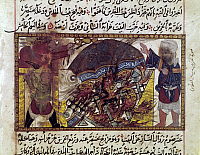 0123043 © Granger - Historical Picture ArchiveSECOND TEMPLE OF JERUSALEM.   Romans under Titus burning the Second Temple of Jerusalem in 70 A.D. Arab manuscript illumination.