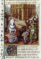 0123044 © Granger - Historical Picture ArchiveANTIOCHUS IV EPIPHANES   (c215-164 B.C.). Selucid emperor. Antiochus and his army entering Jerusalem and punishing Jews. Illumination by Jean Fouquet from a 15th century French edition of Flavius Josephus' 'Antiquities of the Jews.'