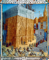 0123057 © Granger - Historical Picture ArchiveTEMPLE OF JERUSALEM.   Building the Temple of Jerusalem under King Solomon, 10th century B.C. Illumination by Jean Fouquet from a 15th century French edition of Flavius Josephus' 'Antiquities of the Jews.'