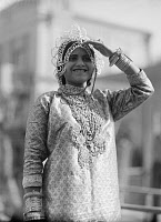 0130652 © Granger - Historical Picture ArchiveTEL AVIV: PURIM FESTIVAL.   A young woman from Yemen representing Queen Esther at the Purim festival in Tel Aviv, 1934.